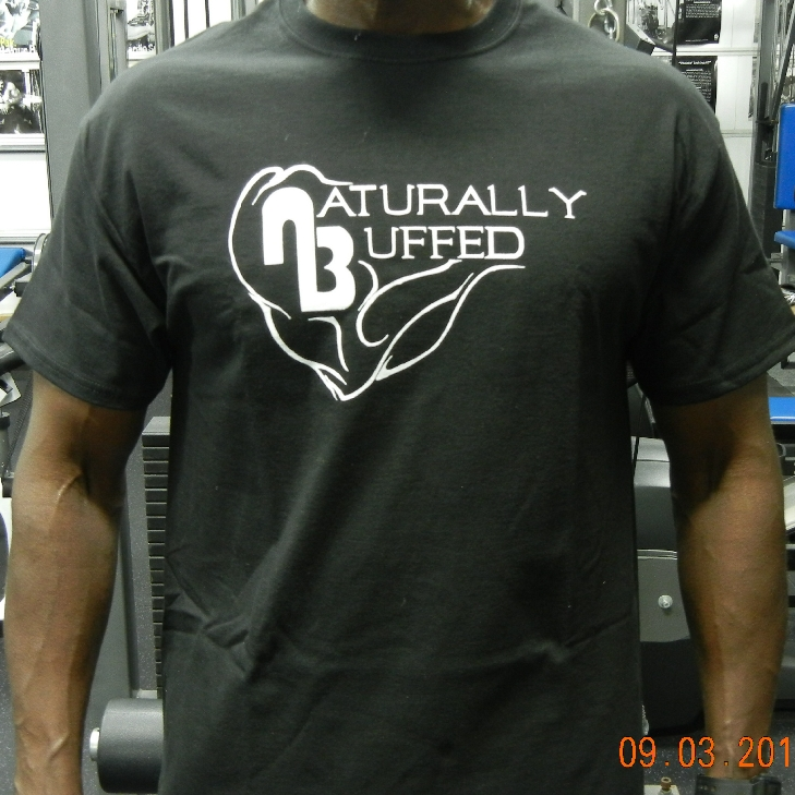 Mens-Naturally-Buffed-Black-Short-Sleeve-Cotton