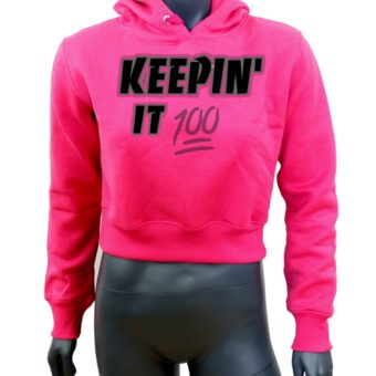 Crop-top-hoodie-Pink-Keepin It 100-Mannequin