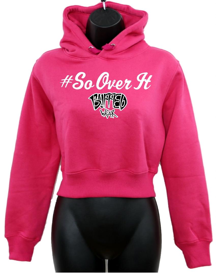 da4d1c837 Women's Crop-Top Hoodie-Pink-Black-Charcoal - #Sayings - BuffedWear